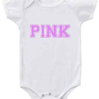 PINK graphic in VS Pink Collegiate font CHOOSE ANY COLOR short or long sleeve baby bodysuit or toddler top