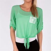 Timing Juniors Chiffon Tie-Front Top with Lace Back at Von Maur