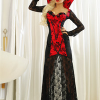 Black and Red Floral Lace Maxi Dress Vampire Costume