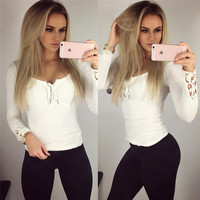 Fashion Long Sleeve Hollow Bandage Strappy Casual Sexy Plain Lace Sleeve T-shirt Shirt Blouse _ 8546