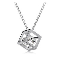 Women's Fashion Eight Hearts and Eight Arrows Zircon Square Necklace Crystal Link Chain Pendant