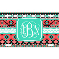 Custom Personalized License Plate Car Tag Coral Aztec Tribal Fancy Vine Monogram 16th Birthday Girls Gift Aluminum Front Car Plate LP-1016