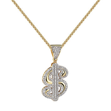 Dollar Sign Pendant Hip Hop 14k Gold Finish Lab Diamonds 24 Inch Free Necklace New