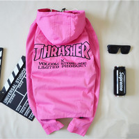 Thrasher x Volcom Stone Age Limited Product Pink Windbreaker Jacket
