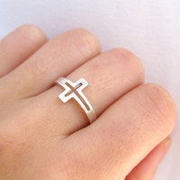 sideways cross silver ring - religious silver ring - handmade sterling silver ring
