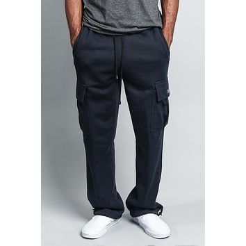 Men's Solid Fleece Heavyweight Cargo Sweat Pants