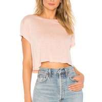 Splendid Light Jersey Crop Tee in Pink Beige