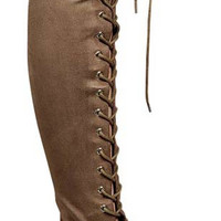 Lace It Up Thigh-High Boots - Camel - FINAL SALE