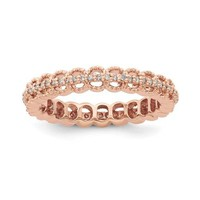 Sterling Silver Stackable Expressions Rose Gold Plated Diamond Eternity Ring