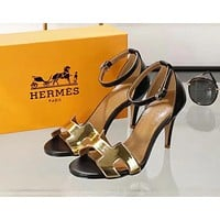Hermes New Popular Women Heels Sandal Shoes Golden I-ALS-XZ