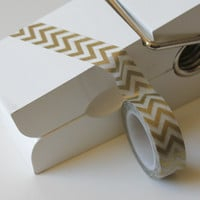 Gold Chevron Japanese Washi Tape, 15mm x 10m roll, Wedding gift tape, Golden Wedding, Washy tape, Masking tape, Zigzag Washi tape,