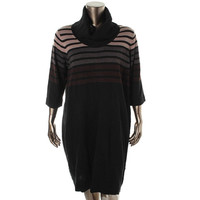 Connected Apparel Womens Plus Cowl Neck Striped Sweaterdress