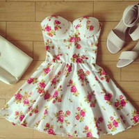 White Strapless Print Mini Dress