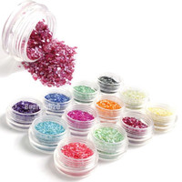 12 Colors Crushed Shell Chips Powder For UV Acrylic System 3D Nail Art Decoration Rhinestones For Nails Free Shipping