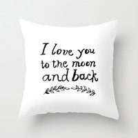 To the Moon and Back- White Throw Pillow by Rebecca Allen