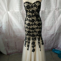 Gorgeous Sweetheart Neckline Mermaid Style Champagne Tulle Black Lace Prom Dress Evening Dress Pageant Dress ET173