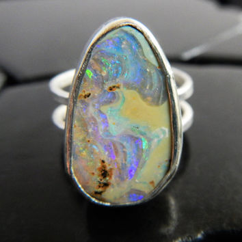 Natural Australian Boulder Opal and Sterling Silver Ring, Genuine Boulder Opal Ring, Large Opal Ring, Ring Size 6.75, Gaia's Candy