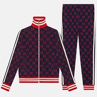 GUCCI tide brand men's striped sports zipper cardigan two-piece red