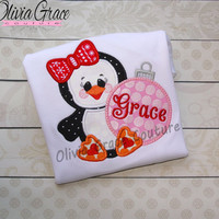 Girl Christmas Shirt, Penguin with Ornament, Christmas Winter Embroidered Applique Shirt or Bodysuit