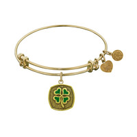 Antique  Stipple Finish Brass Four Leaf Clover - Enamel Angelica Bangle, 7.25 Inches Adjustable