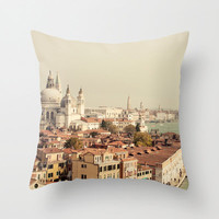 photography throw pillow - venice italy  pillow cover, blue home decor, europe, travel, architecture, landscape - City of Venice