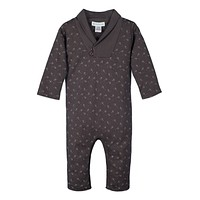 Shawl Neck Romper (Tiny Airplanes on Charcoal) by Feather Baby