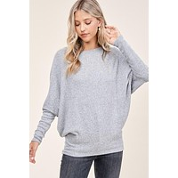 Too Much To Ask Top - Heather Grey