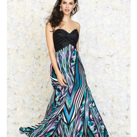 Blue Multi Color Geo Print Maxi Dress