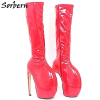 Sorbern Fashion Red Shiny Lady Gaga Women Boots 18Cm Extreme High Heels Knee High Boots Ladies Platform Boots New Bota Feminina Macchar Cosplay Catalogue