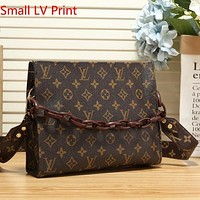 Women Two-Sided Print Leather Crossbody Satchel