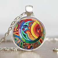 Mexican Art Glass Tile Necklace Sun Moon Art Pendant Jewelry Handmade Colorful Glass Tile