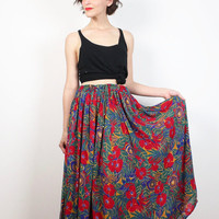Vintage 90s Floral Skirt Red Green Blue Gauze Maxi Skirt 1990s Boho Tropical Gauzey Midi Skirt Bohemian Indian Skirt M Medium L Large XL