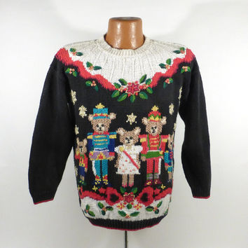 Ugly Christmas Sweater Vintage 1990s Bears Holiday Tacky Xmas Party Women's size P M