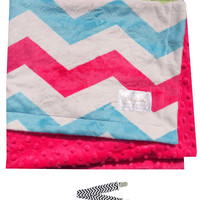 """Baby Laundry 91329 Soft Minky Hot Pink Chevron Baby Blanket 36""""x30"""" with Pacifier Clip"""