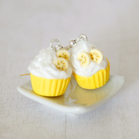 Yellow cupcake banana earrings miniature kawaii Polymer clay sweet dessert