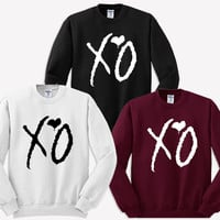 xo the weeknd sweater sweatshirt black maroon white