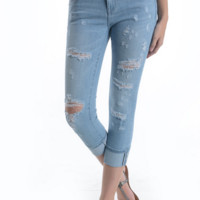 Heavy Distressed Slim Capri Jeans by Just USA