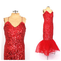 Vintage 1950s Marilyn Monroe Mermaid Dress Red Sequin Showgirl Costume Flamenco Dress Party Cocktail Gown 1960s Showgirl Pin Up Girl Dress