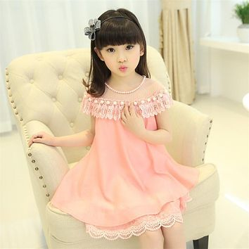 Girls Princess Dress Children Evening Clothing Kids Chiffon  Lace Dresses BabyGirl Party Prom Pearl