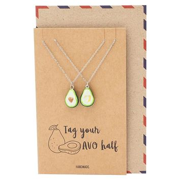 Liana Set for 2, Avocado Pendant Matching Necklace for Women, Funny and Inspirational Quote