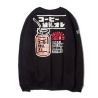 Autumn and winter street retro cartoon condensate milk bottles plus velvet sweater tide brand men Black