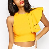 LA Chilly One-shoulder Ruffle Cropped Tank Tops