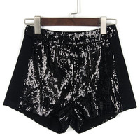 Black Sequined Shorts