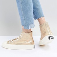 Converse Chuck '70 metallic hi trainers in gold at asos.com