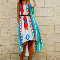 Olivia Dress - Colorful ethnic tail hem dress (Blue/Red) from Mytheclothing