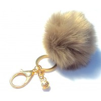 Light Coffee Faux Fur Pom Pom Keychain