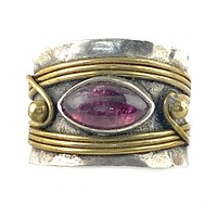 Garnet Two Tone Sterling Silver Band Ring