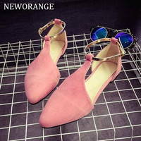Fashion Pointed Toe T-strap Women's Flat Shoes Sexy Flock Sandals Women Shoes 2017 Spring Autumn Female Flats WFS218