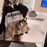 """ Burberry"" Woman Casual Simple Blouse Tartan Fashion Letter Printing Long Sleeve Sweater Tops"