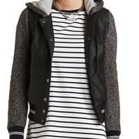 Layered Faux Leather Varsity Jacket by Charlotte Russe - Black Combo